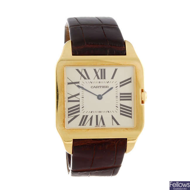 (172043) CARTIER - an 18ct rose gold Santos Dumont wrist watch.