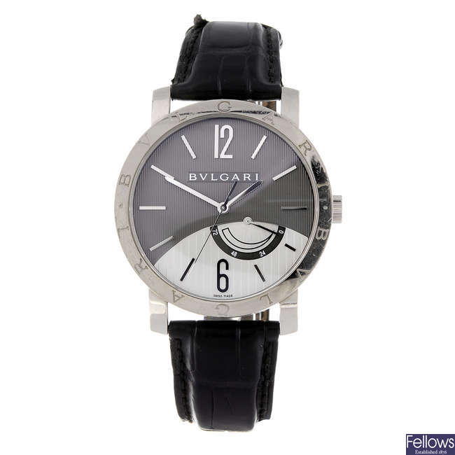 (172043) BULGARI - a gentleman's 18ct white gold Bulgari wrist watch.