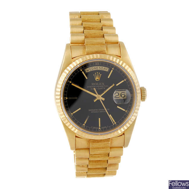 (95720) ROLEX - a gentleman's 18ct yellow gold Oyster Perpetual Day-Date bracelet watch.