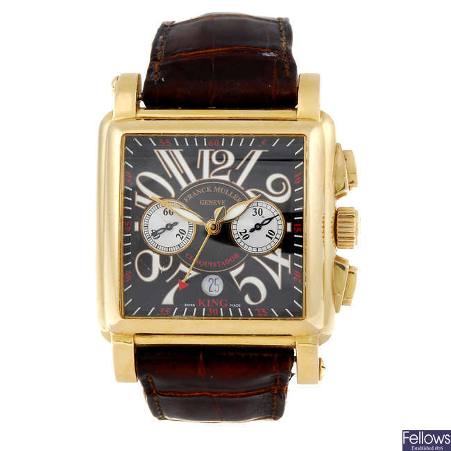 (201001) FRANCK MULLER - a gentleman's 18ct rose gold Conquistador King chronograph wrist watch.