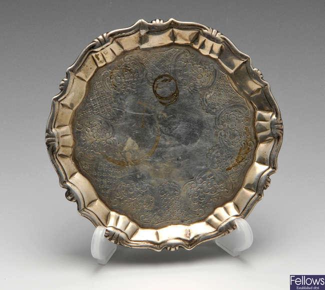 A George II silver waiter & modern silver wine funnel.