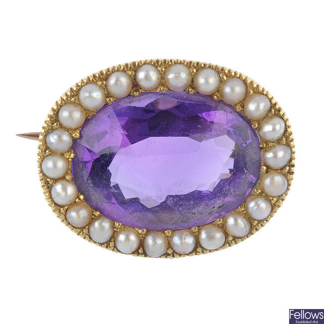 A late Victorian 15ct gold amethyst and split pearl brooch, circa 1880.
