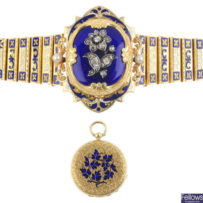 A 19th century 18ct gold diamond and enamel bracelet, attributed to J.S. Rossel with concealed J.F. Bautte & Cie pocket watch.