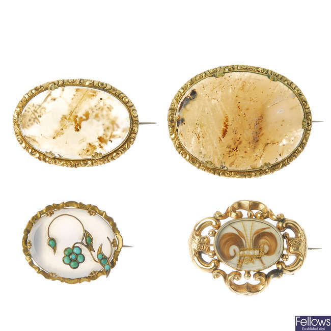 Four late 19th century brooches.