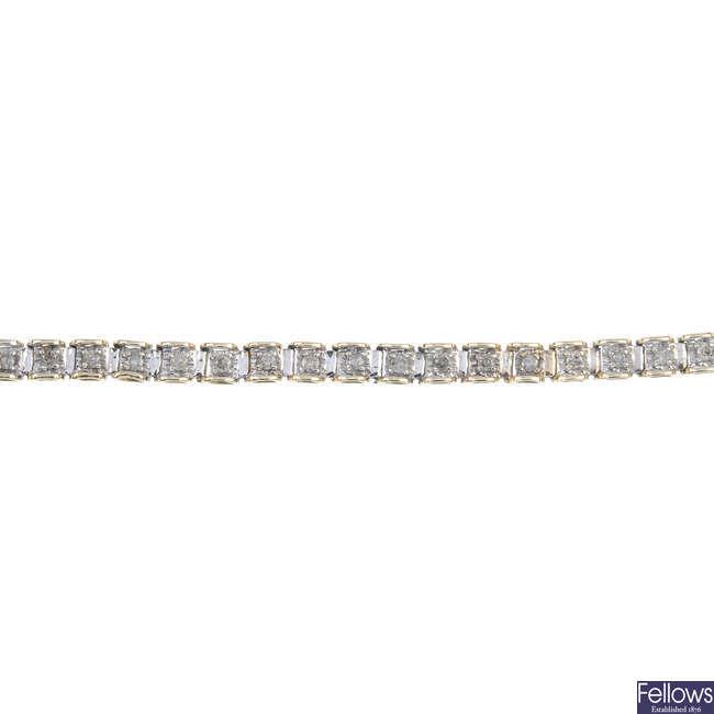 A 9ct gold diamond bracelet