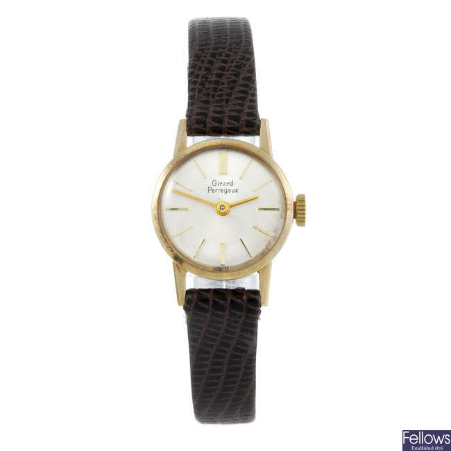 GIRARD PERREGAUX - a lady's 9ct yellow gold wrist watch.