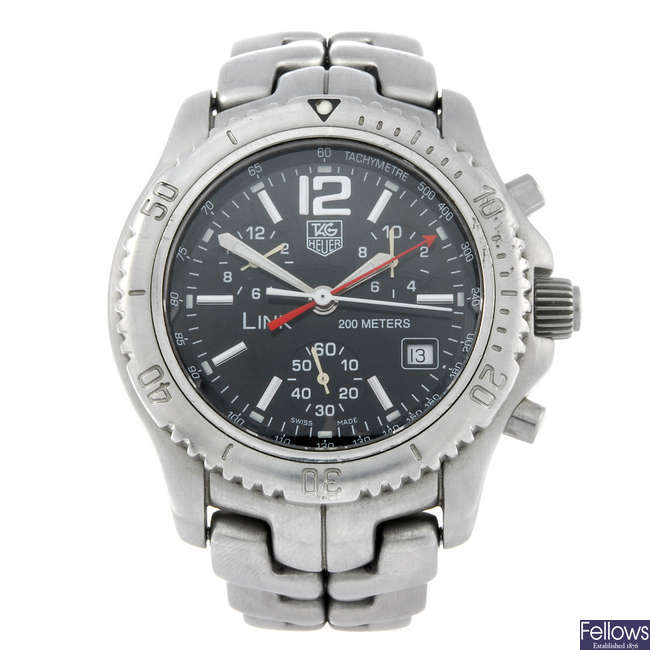 TAG HEUER - a gentleman's stainless steel Link chronograph bracelet watch.