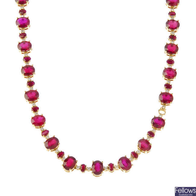 A glass-filled ruby and diamond necklace.