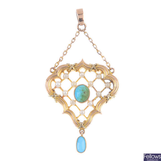 An early 20th century 9ct gold turquoise and seed pearl pendant, by Henry Joseph Barnet.