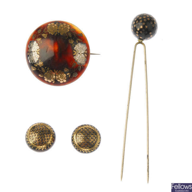 A selection of late Victorian tortoiseshell pique jewellery.