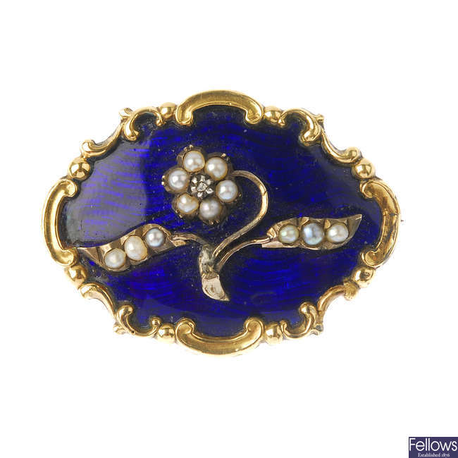 A late Victorian gold, enamel and split pearl memorial brooch.