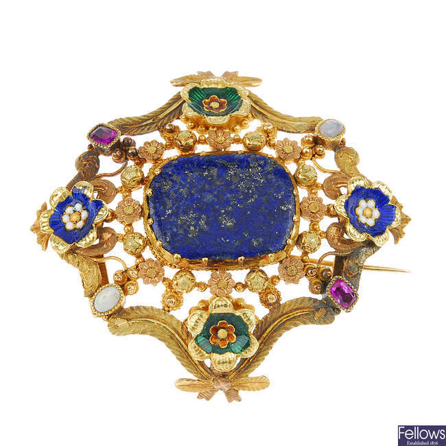 An early 19th century gold enamel and gem-set brooch.