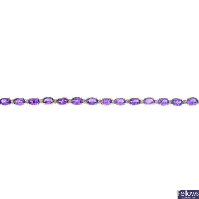 A 9ct gold amethyst and diamond bracelet.