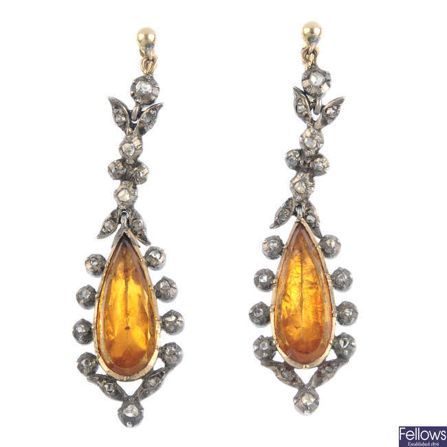 A pair of mid Victorian silver and gold citrine and diamond earrings, circa 1860.