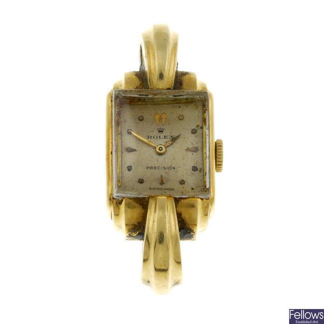 ROLEX - a lady's yellow metal watch head.