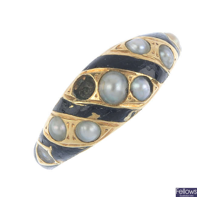 A late Victorian gold split pearl and enamel memorial ring.