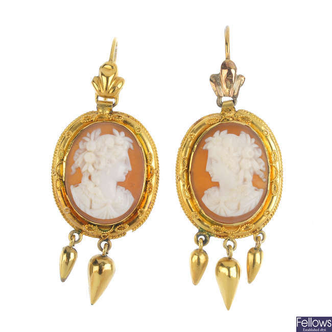 A pair of late 19th century gold, shell cameo earrings.