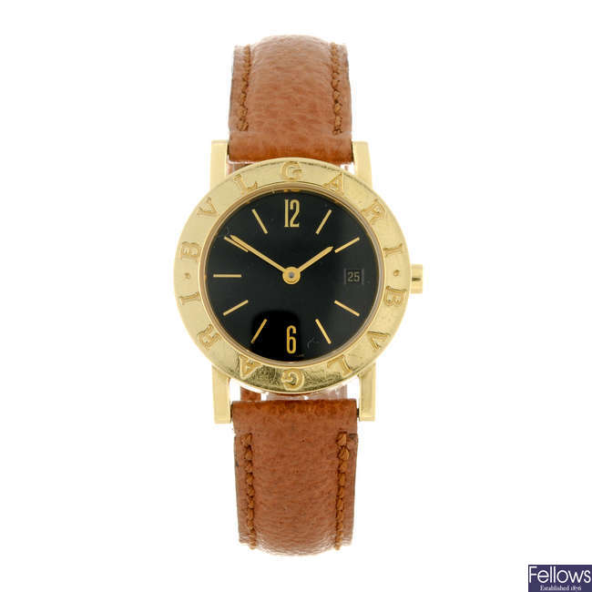 BULGARI - a lady's 18ct yellow gold Bulgari wrist watch.