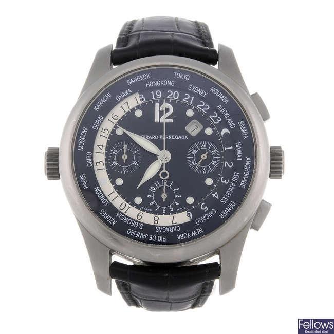 GIRARD PERREGAUX - a gentleman's titanium WW.TC World Time chronograph wrist watch.