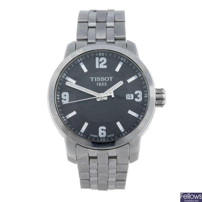 TISSOT - a gentleman's stainless steel 1853 bracelet watch.