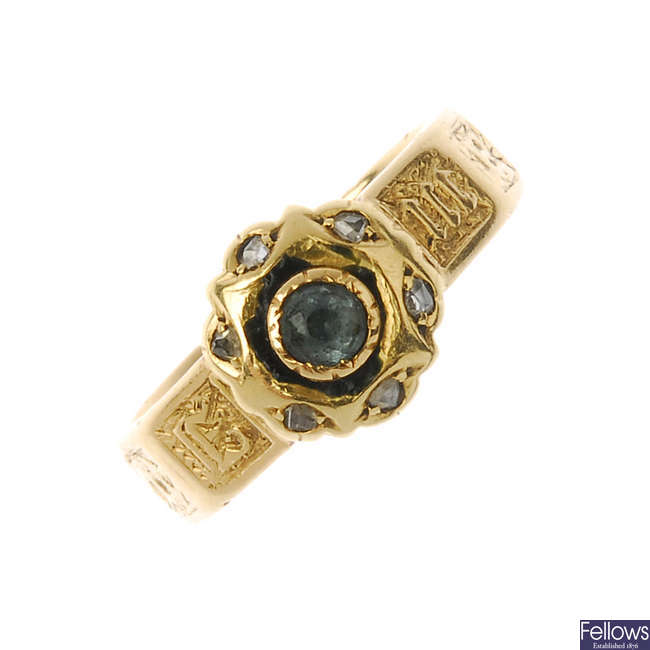 A mid Victorian 18ct gold gem-set memorial ring.