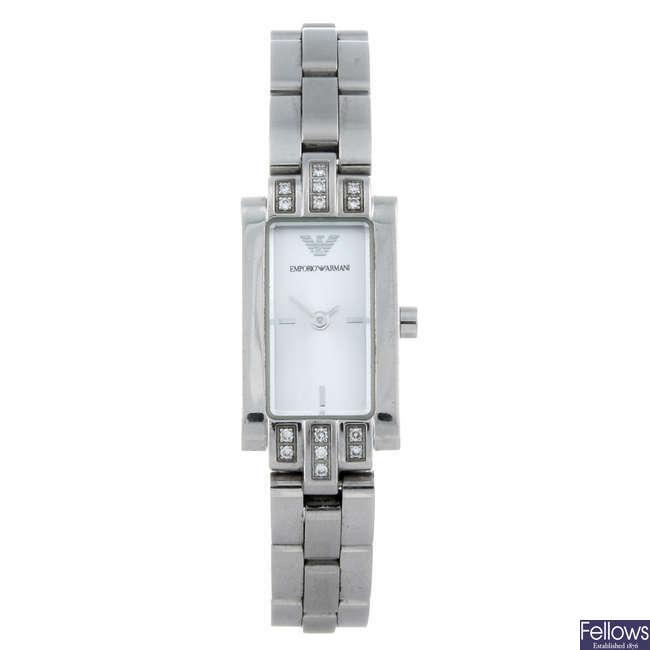EMPORIO ARMANI - a lady's stainless steel bracelet watch.