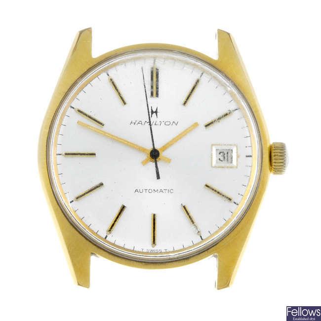 HAMILTON - a gentleman's gold plated watch head.