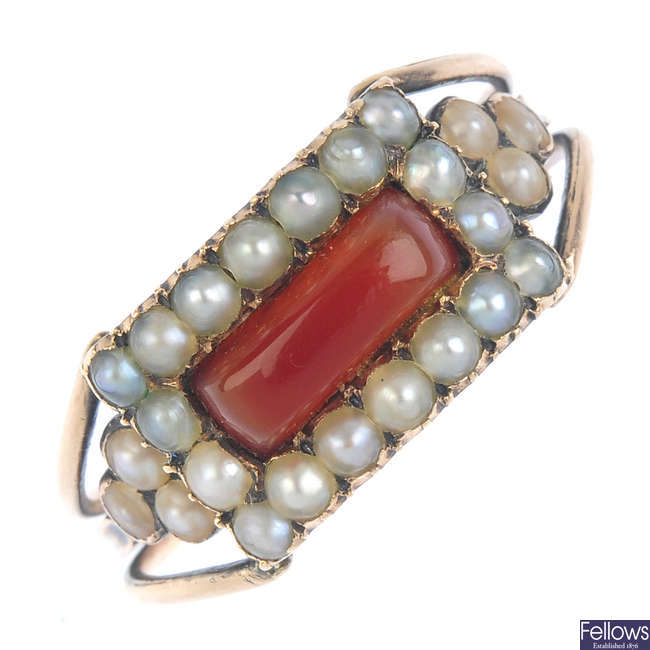 An early 19th century gold carnelian and split pearl cluster ring.