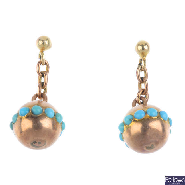 A pair of late Victorian gold turquoise earrings, circa 1890.