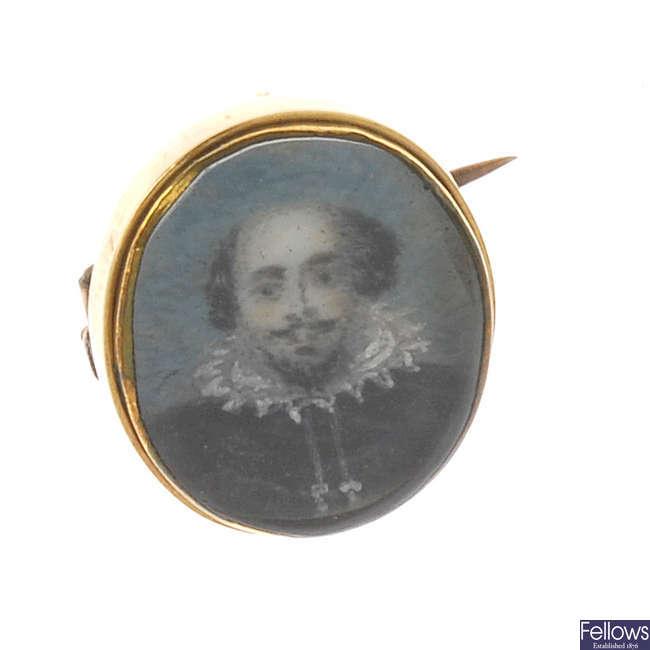 A late Georgian portrait miniature brooch.