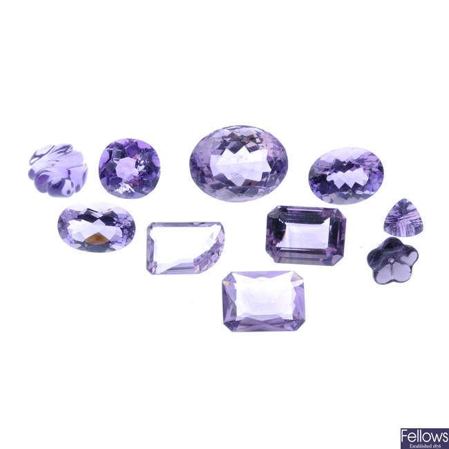 A selection of vari-shape amethyst