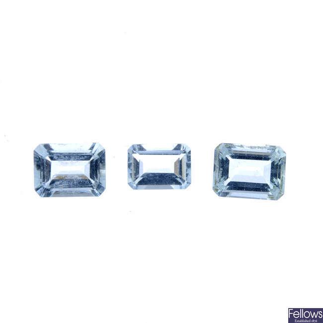 Three rectangular-shape aquamarines