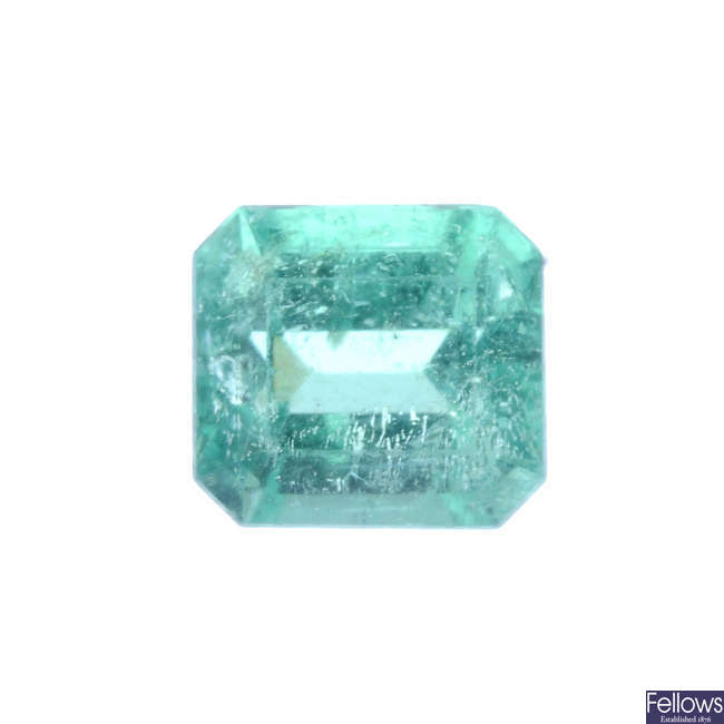 A rectangular-shape emerald, weighing 1.96cts.