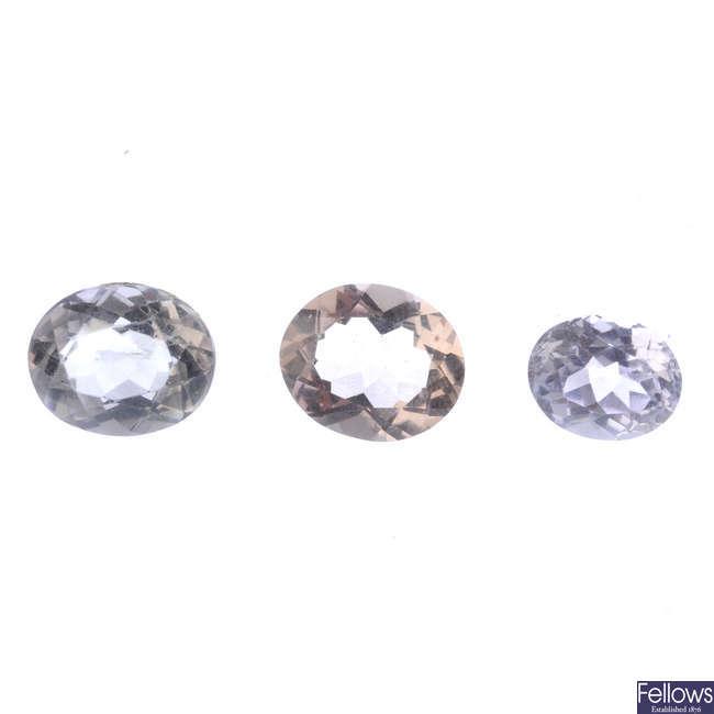 Two oval-shape morganites and a spodumene