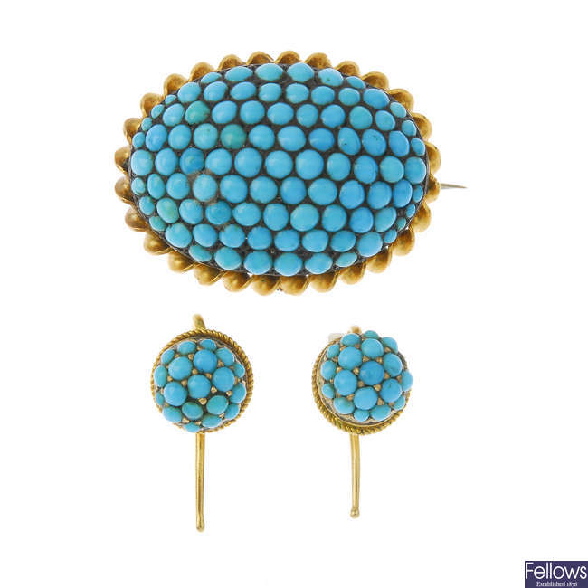 A set of late Victorian gold turquoise jewellery.