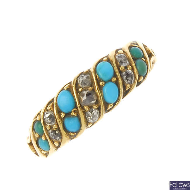 A late Victorian gold turquoise and diamond dress ring, circa 1870.