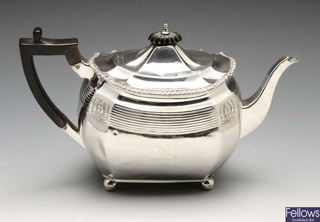 A late Victorian silver teapot.