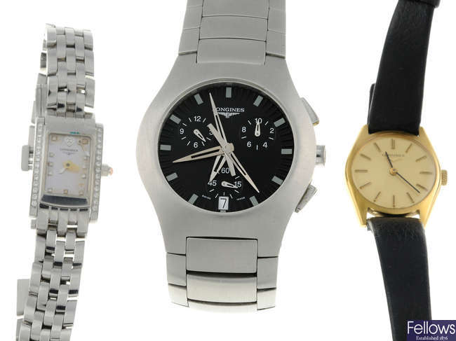 LONGINES - a mid-size stainless steel Opposition chronograph bracelet watch wiht two lady's Longines watches.