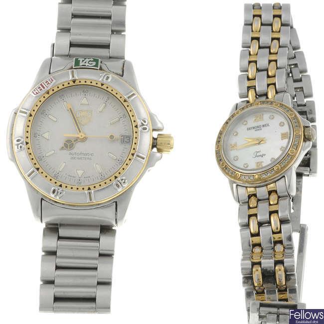 TAG HEUER - a mid-size stainless steel 4000 Series bracelet watch with a lady's Raymond Weil Tango bracelet watch.