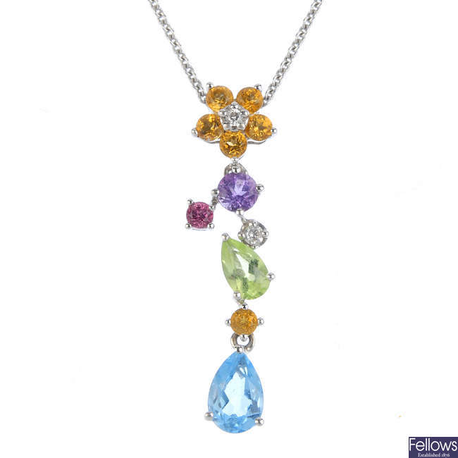 A diamond and gem-set floral pendant, with chain.