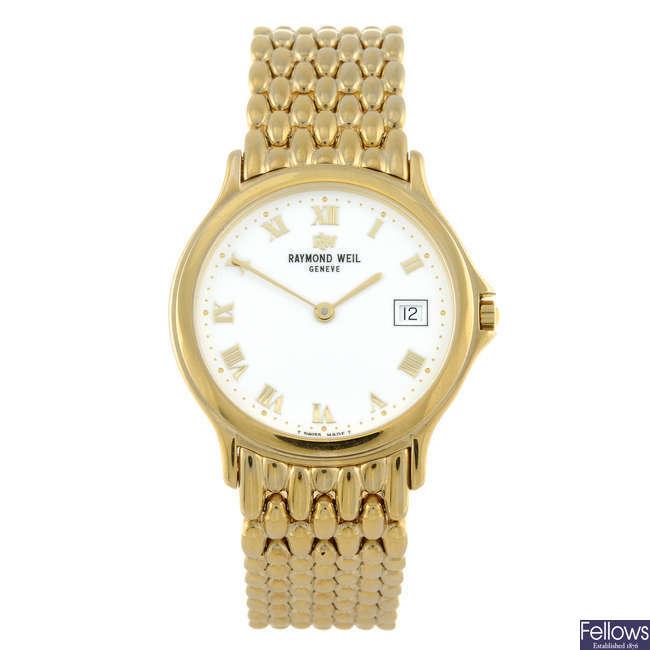 RAYMOND WEIL - a gentleman's gold plated Chorus bracelet watch.