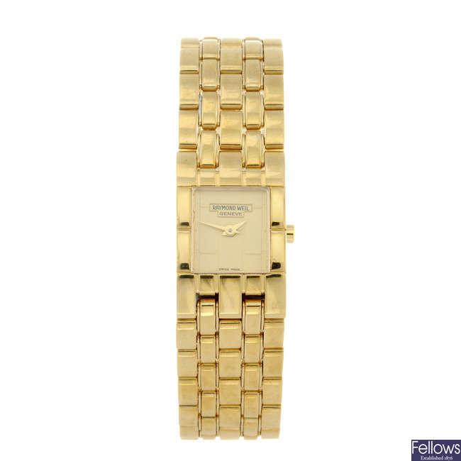 RAYMOND WEIL - a lady's gold plated Tema bracelet watch.