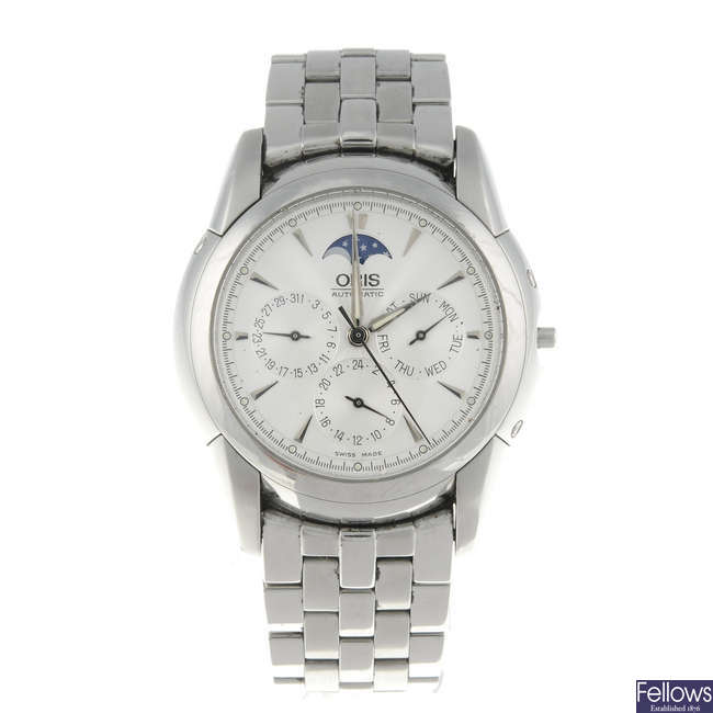 ORIS - a gentleman's stainless steel Artelier Complication bracelet watch.
