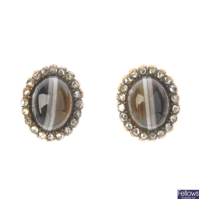 A pair of banded agate and diamond cluster ear studs.