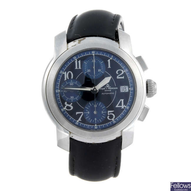 BAUME & MERCIER - a gentleman's stainless steel Capeland chronograph wrist watch.