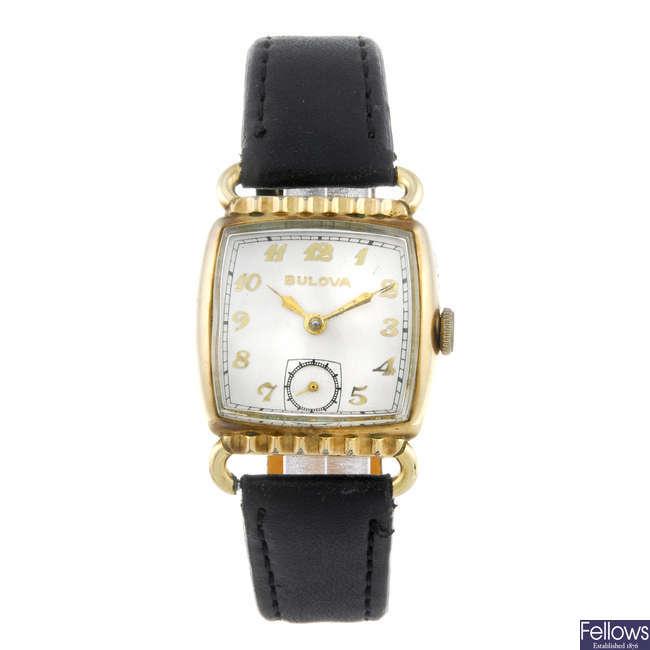 BULOVA - a lady's gold plated wrist watch.