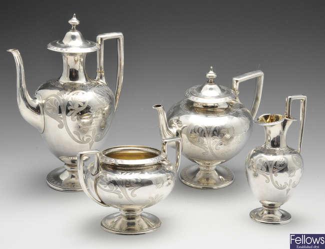 A Victorian four piece silver tea service.