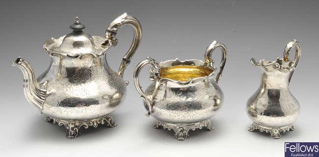 An early Victorian three piece silver tea service.