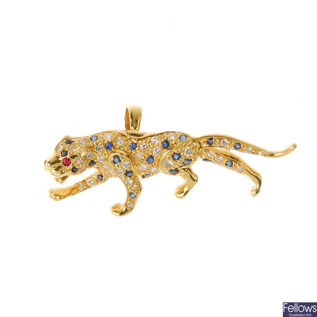 An 18ct gold diamond, sapphire and ruby leopard pendant.