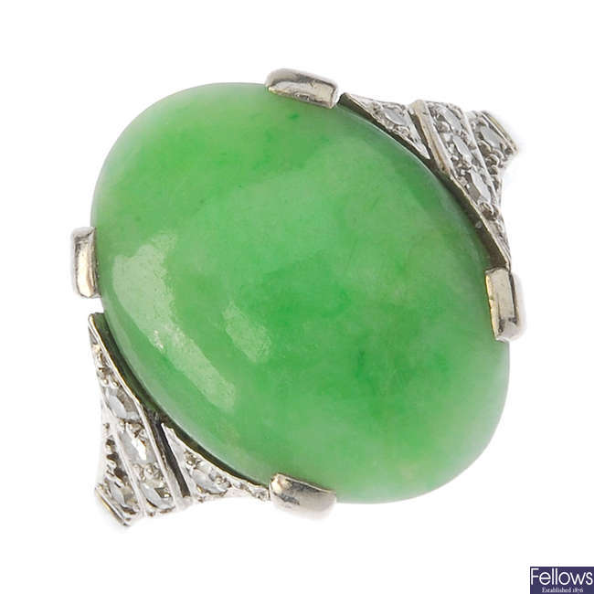 An Art Deco jade and diamond ring.